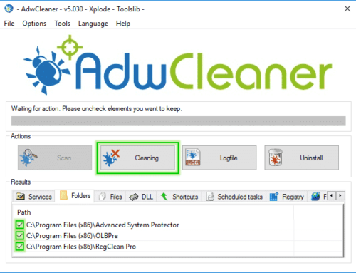 Tutorial Adwcleaner – Cleaning Option