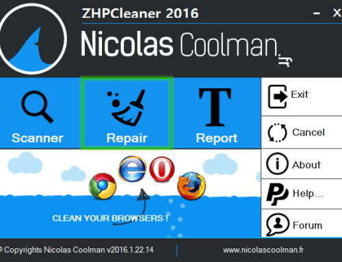 Tutorial ZHPCleaner – Repair Option