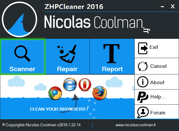 Scanner_ZhpCleaner_sos-virus Tutorial ZHPCleaner - Scanner Option ZHPCleaner Nicolas Coolman