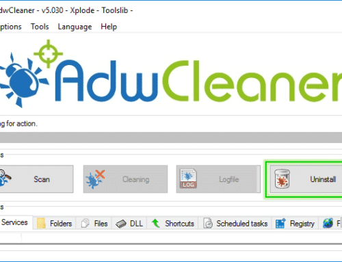Tutorial Adwcleaner – Uninstall Option