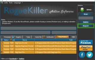 Report_Option_delete_RogueKiller_sos-virus-320x202 Tutorial RogueKiller - Delete Option RogueKiller Adlice Software