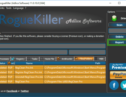 Tutorial RogueKiller – Delete Option