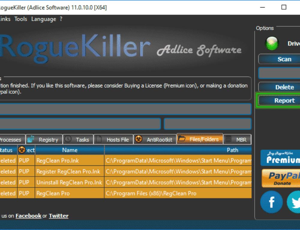 Tutorial RogueKiller – Delete Option