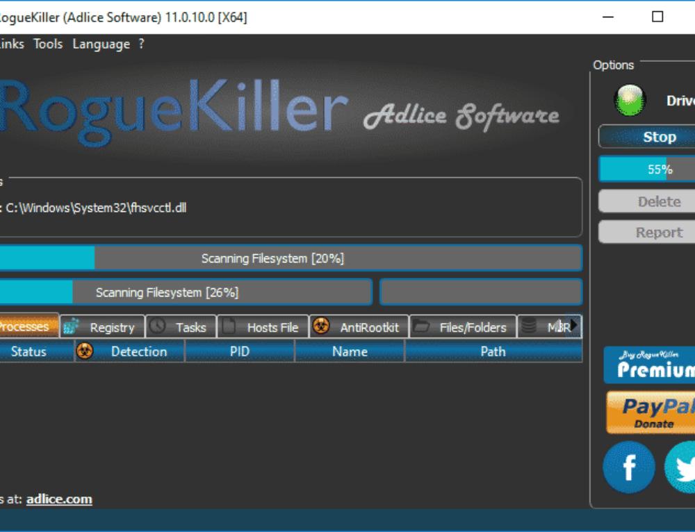 Tutorial RogueKiller – Scan Option