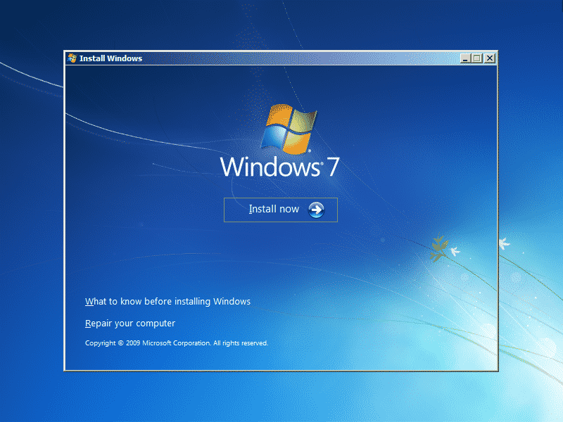 Tutorial_Windows_7_Starting_windows_Install_now