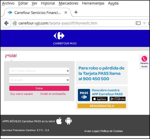 Pagina falsa de Carrefour