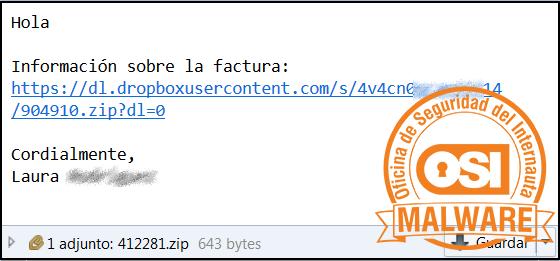 Correo malicioso con adjunto y enlace para descargar malware