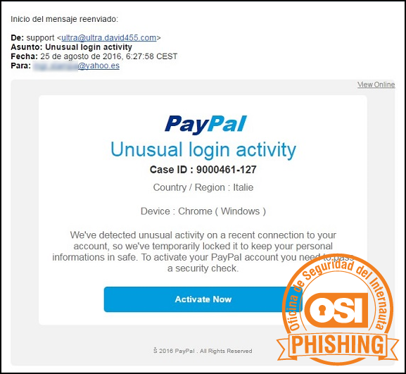 Correo Phishing a PayPal