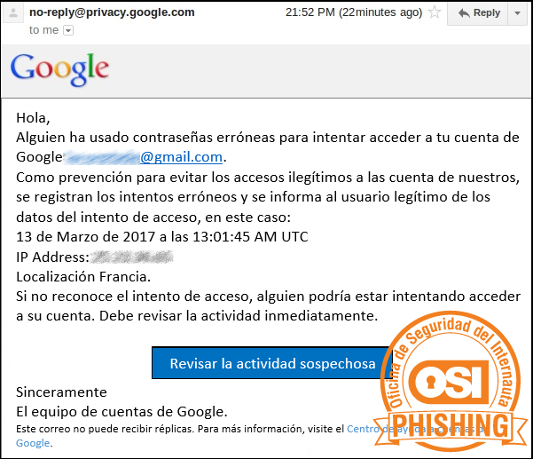 Correo de Phishing a Google