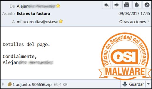 Correo malicioso con un adjunto malicioso