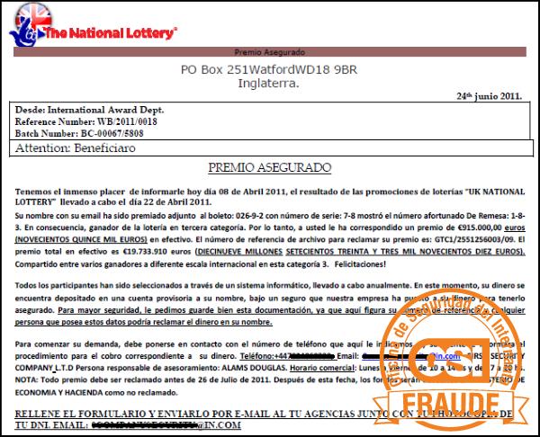 Correo fraude económico Premio loteria