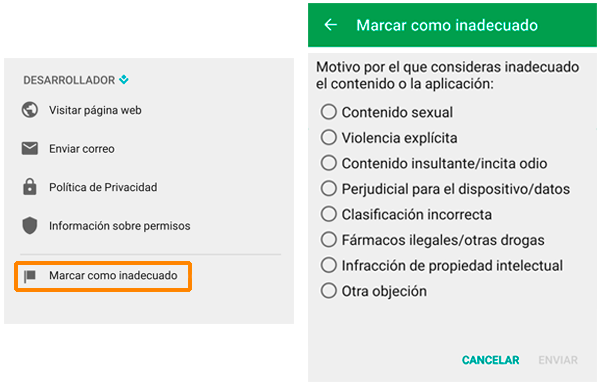 Notificar una aplicación como fraudulenta en Google Play