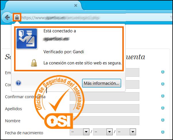 Página de compra donde al introducir los datos personales aparece un certificado