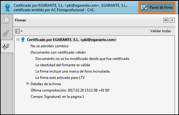 Documento PDF certificado por eGarante Mail
