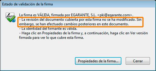 Documento modificado después de haber sido firmado por eGarante
