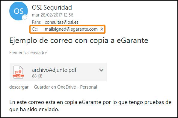 Ejemplo de correo puesto como testigo eGarante Mail