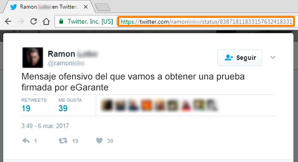 Ejemplo de captura de pantalla de un tuit donde se muestra el identificador único de ese mensaje