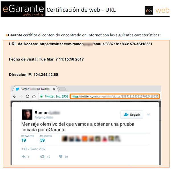 Documento PDF con una captura de pantalla de un tuit firmado por eGarante