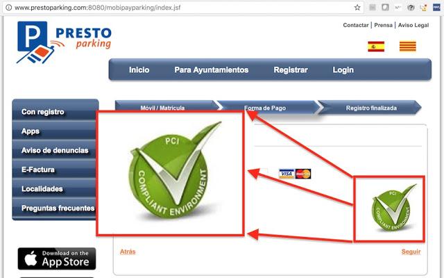Presto Parking: ¿Un sitio web PCI-Compliant sin HTTPs? #PCI #PCICompliant #HTTPs TomCat, pentesting, PCI, https, HTTP, Hacking, Google Play, fraude, Cifrado, carding