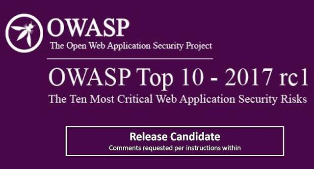publicada owasp top ten 2017 release candidate 1 - Publicada OWASP Top Ten 2017 Release Candidate 1