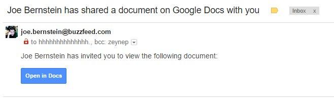 Formato del ataque de phishing que dirige a la falsa aplicación de Google Docs