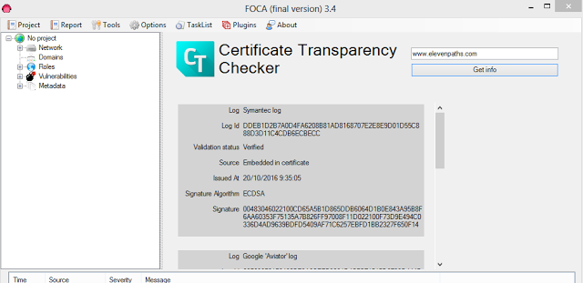 Fear the FOCA: Descargar FOCA y el plugin de Certificate Transparency Checker para FOCA pentesting, https, FOCA, ElevenPaths, Certificate Transparency, certificados digitales