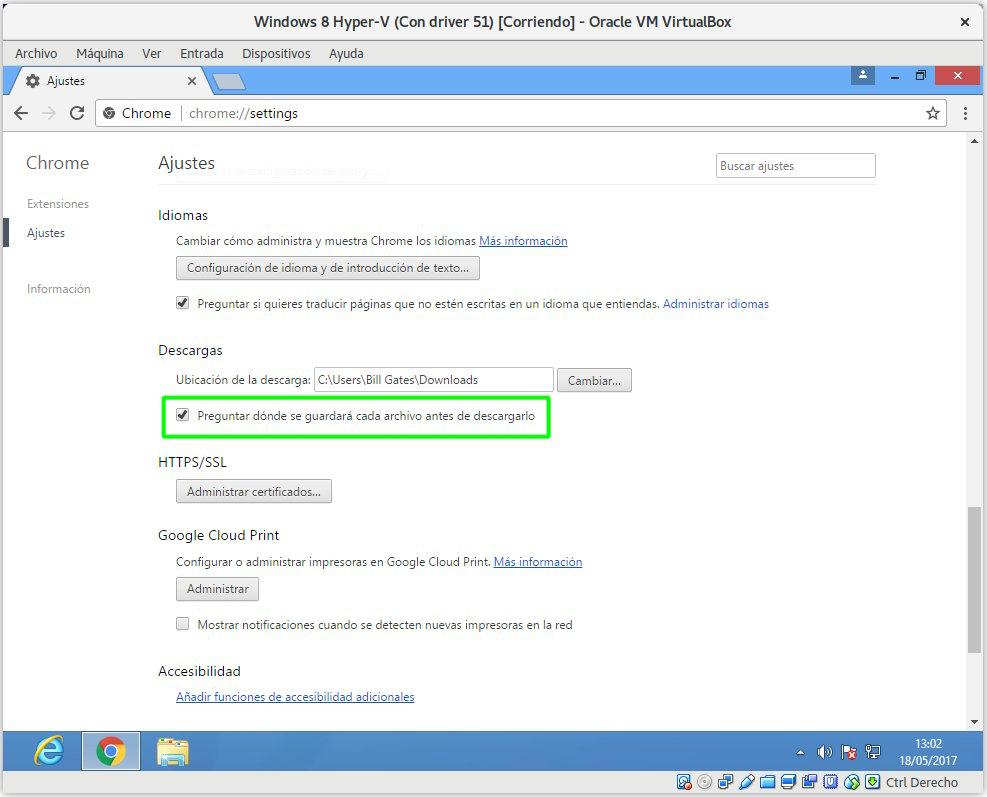 Inhabilitar las descargas automáticas en Google Chrome