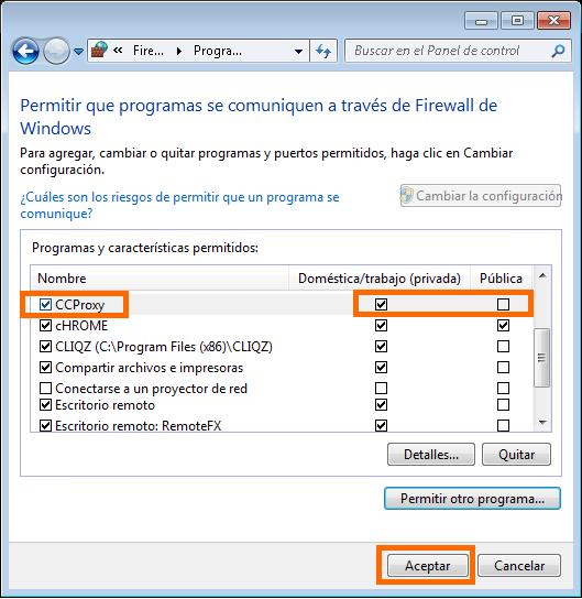 Aceptar programa que se comunique a través del Firewall