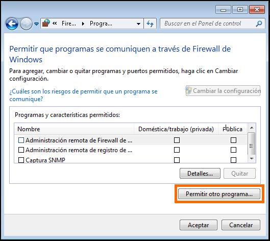 Permitir qué programas se pueden comunicar a través del Firewall