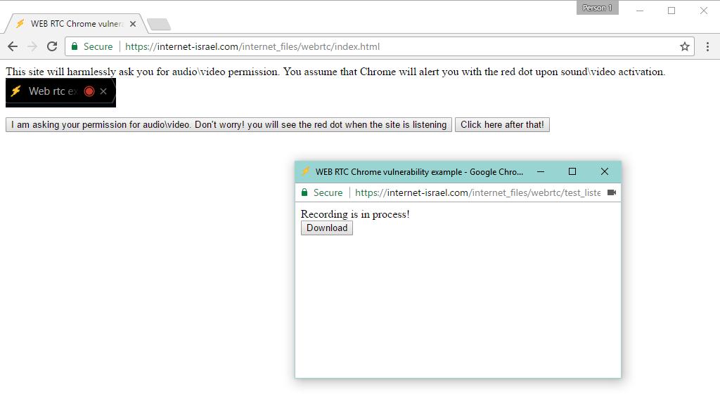 Demostración de grabación malintencionada de audio con Google Chrome