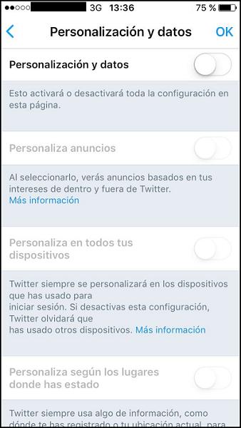 Personalización y datos en dispositivo móvil