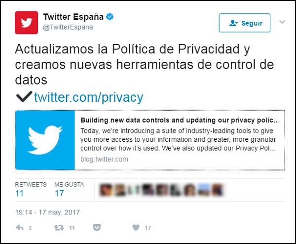 Política de privacidad de twitter