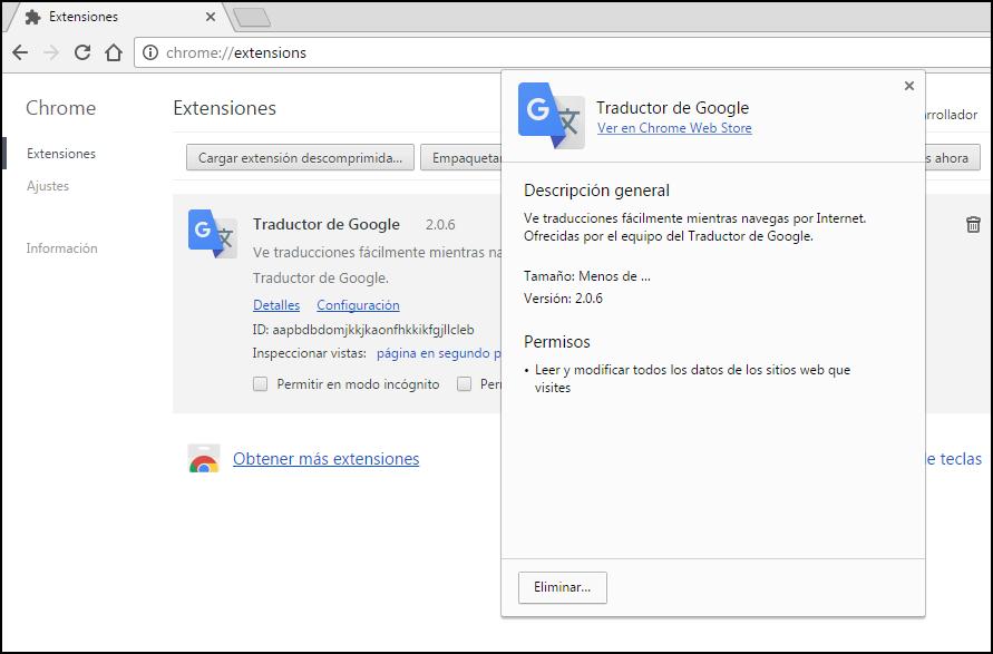 Imagen de extensiones de Google Chrome