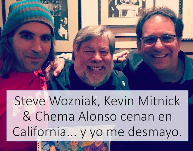 steve wozniak kevin mitnick chema alonso cenan en california y yo me desmayo p - Steve Wozniak, Kevin Mitnick & Chema Alonso cenan en California... y yo me desmayo }:P