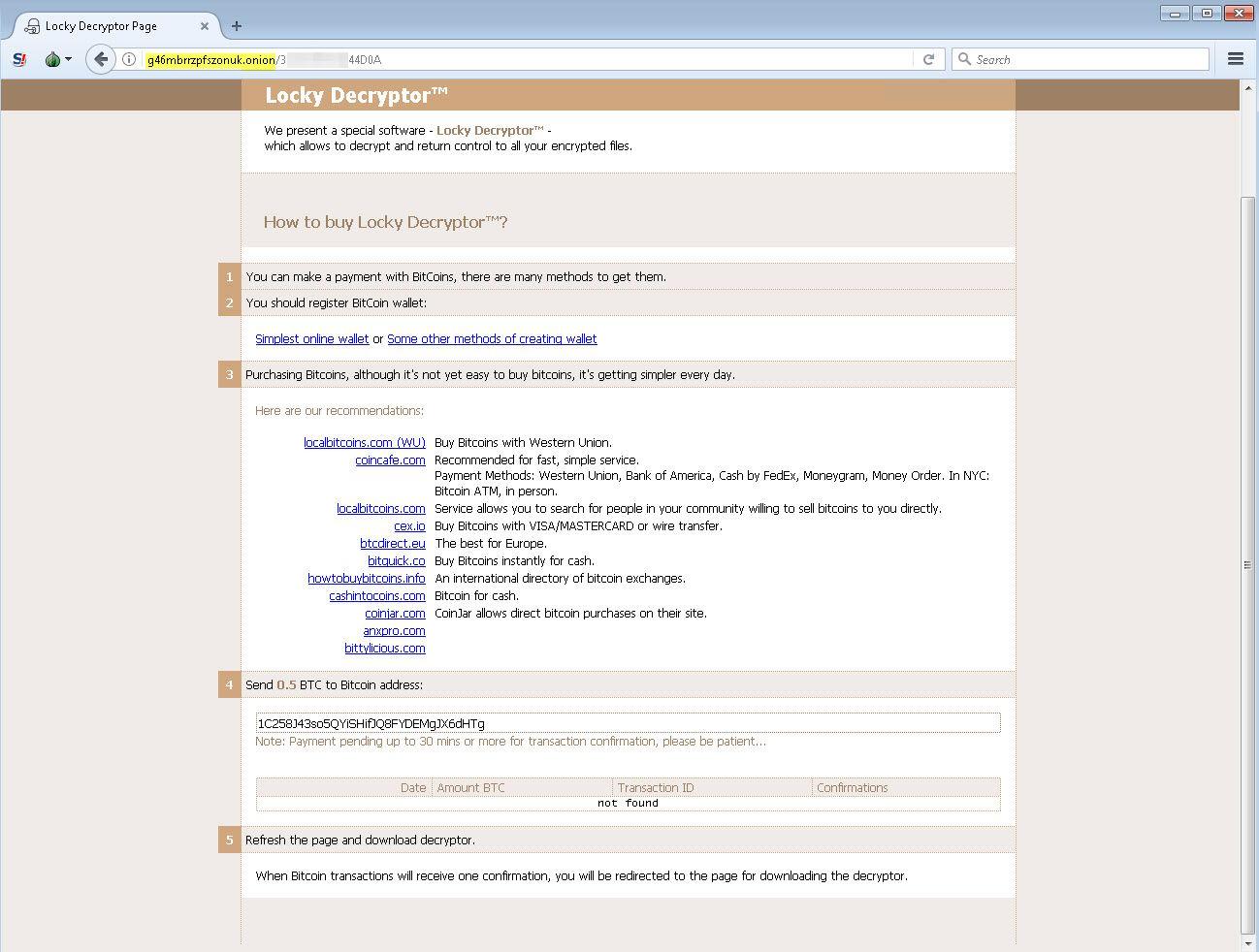 Proceso de descifrado del ransomware Lukitus, variante de Locky