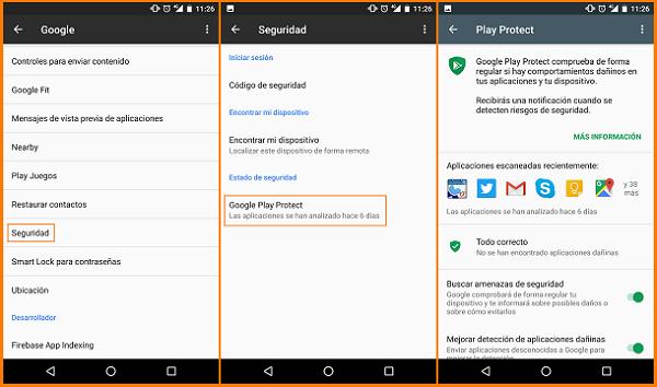Capturas de pantalla de móvil android, pestañas Google, Seguridad y Play Project.