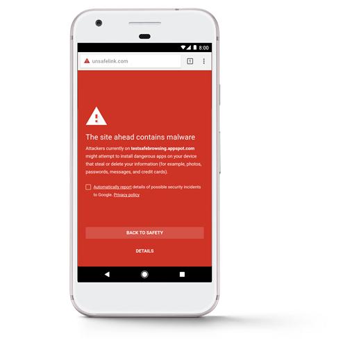 Imegen de advertencia de que la web que se quiere visitar contiene malware.