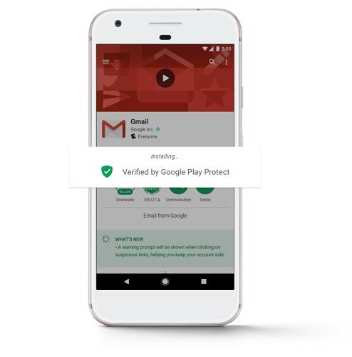 Imagen de escaneo automático de nuevas aplicaciones instaladas. En este caso es Gmail del cual dice que está verificado por Google Play Project.