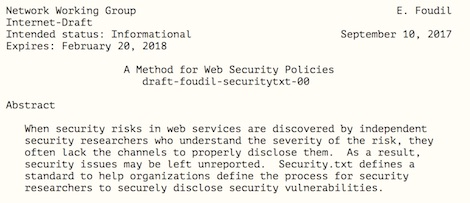 Security.TXT un draft del IETF para mi Hackers.TXT pentesting, legalidad, Hacking, hackers, bugs