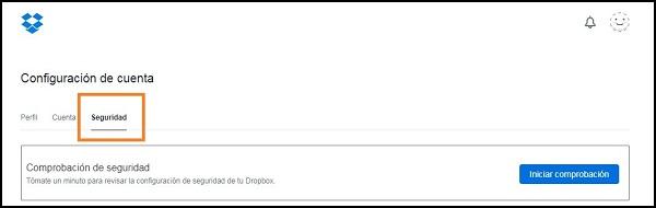 Captura de pantalla sobre comprobación de seguridad de la cuenta.