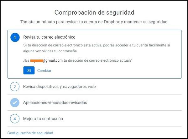 Captura de pantalla sobre la comprobación de seguridad. En este caso se muestra la revisión del correo electrónico.