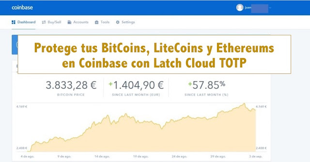 Protege tus BitCoins, LiteCoins y Ethereums en Coinbase con Latch Cloud TOTP TOTP, litecoin, Latch, Identidad, ethereum, ElevenPaths, Blockchain, Bitcoins, 2FA