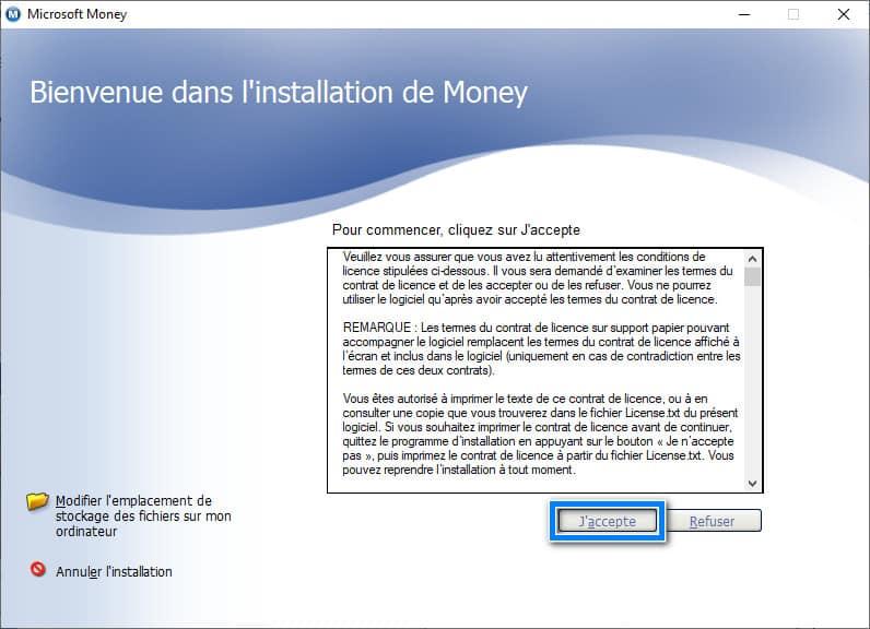 Acepta el acuerdo de licencia de Microsoft Money