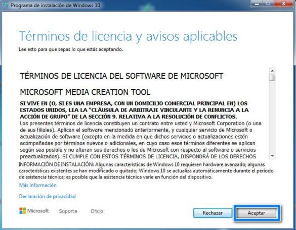 Aceptar licencia Programa de instalacion de Windows 10
