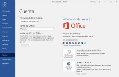 Microsoft Office 2016 activado con clave de producto
