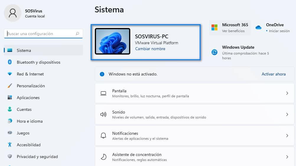 Cambiar el nombre de tu PC en Windows 11