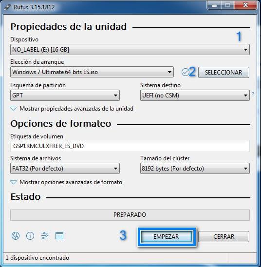 Crear USB Booteable para instalar Windows 7 en modo UEFI