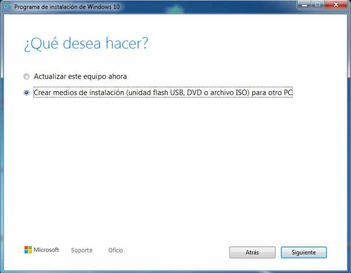 Crear medios de instalacion con el programa de instalacion de Windows-10