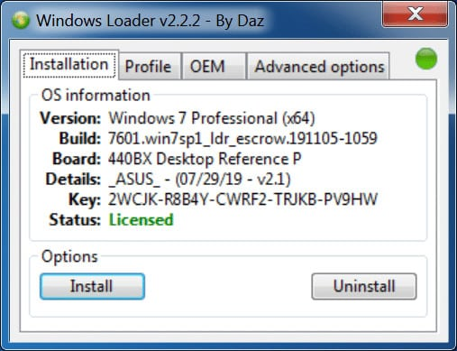 Descargar Windows 7 Loader 2.2.2 by Daz