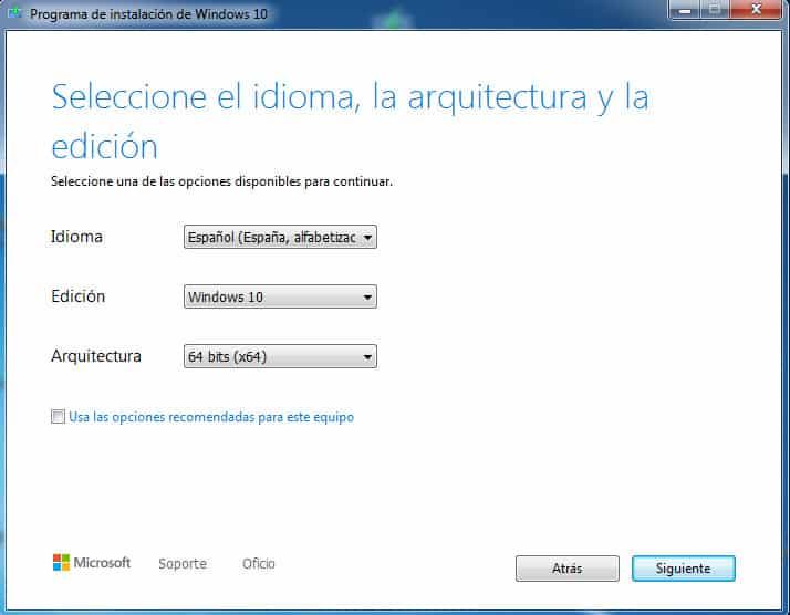 Descargar Windows Media Creation Tool para Windows 10 en Espanol